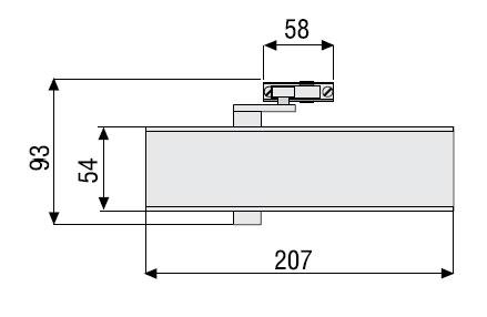 Установка доводчика TESA CT 2500 на полотне двери.