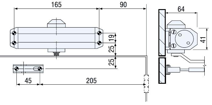 Установка доводчика TESA CT500